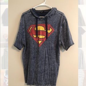 Men's hooded blue Superman shirt